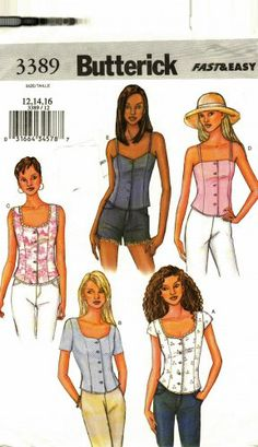 Sew a lined cami for summer fun! Butterick 3389 Pattern uncut 12 14 16 Semi Fitted Summer Tops Camisole (Sorry, this one has been sold.)