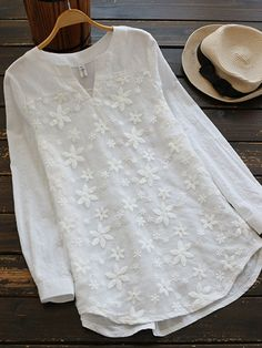 Women Embroidered V-neck Long Sleeve Shirts