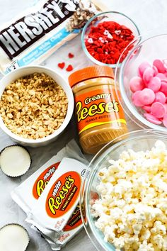 A tasty and festive popcorn that is a delicious blend of white chocolate, peanut butter, peanuts and of course REESE's chocolates!