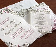 zena letterpress wedding invitation by invitations by ajalon