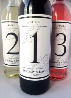 Personalised Wedding Day Table Number Wine Bottle Labels