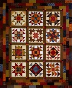 Samplers are my favorite. Perhaps do 4x5 rows of sampler block instead of 3x4? This border is neat too, and I love rich, warm colors!