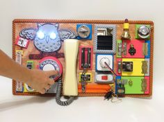 BUSY BOARD Sensory board Activity board Montessori kids toy Latch board Toddler…