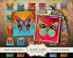 BUTTERFLIES - Scrabble tile images Digital Collage Sheet Printable download for resin and glass pendants .75x.83 inch