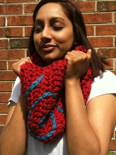 Retro Red/Turquoise Cowl Neck Scarf by HeavAncyDesigns on Etsy