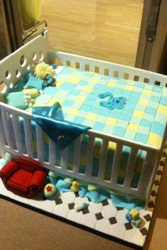 Baby crib cake, baby shower cake, cute baby shower cake, boys baby shower cake, blues clues cake, crib cake, blue cake, best baby shower cake, unique cake, baby cake, amazing cakes, cool cake, blues clues, blue cake, fondant, gumpaste, baby bed, baby bed cake, baby shower ideals, baby shower ideal