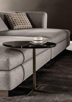 "Oval marble side table JOY ""JUT OUT"" by Minotti design Rodolfo Dordoni Trunk Side Table, Side Coffee Table, Sofa Side Table, Sofa Tables, Coffee Table Design, Modern Home Furniture, Table Furniture, Luxury Furniture, Furniture Design"