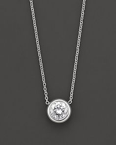 Roberto Coin 18 Kt. White Gold Bezel-Set Diamond Solitaire Pendant, 0.24 ct. t.w. | Bloomingdale's