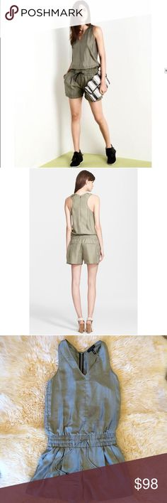 Rag & Bone ELSA sz 00 olive green silk romper Rag and Bone New York size 00 ELSA romper. Olive green silk. Bust 16 1/2 inches, length 33 inches. Item is sold as is with one very minimal flaw the leather on the bottom of one of the drawstrings is missing easy fix. See picture rag & bone Other