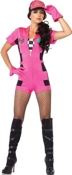 FANCY DRESS PINK PIT CREW VIXEN COSTUME / ROMPER DRIVER OUTFIT / PITSTOP GIRL UNIFORM - SEXY 4 PC ADULT LADIES MOTOR SPORT COSTUMES , RACING DRIVERS OUTFITS & RACE CAR ROMPERS GIRLS UNIFORMS
