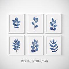 Blue Botanical Print Leaf Wall Art Set of 4 Navy Blue Print Navy Blue Wall Art, Navy Blue Walls, Blue Wall Decor, Leaf Wall Art, Large Wall Art, Leaf Prints, Wall Art Prints, Blue Prints, Art Minimaliste