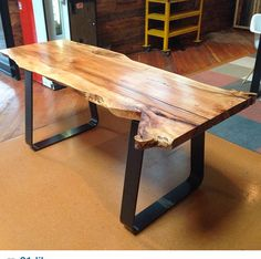 Live Edge Maple Slab Work Table by woodshedproduction on Etsy… Wood Slab Table, Wooden Tables, Farm Tables, Kitchen Tables, Dining Tables, Console Table, Live Edge Furniture, Metal Furniture, Rustic Furniture