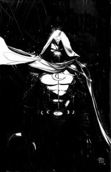 Fan art of MoonKnight. Design a costume that is more grounded but keeps some of the silhouette of his traditional comic look. Thought a long duster coat could have that cape vibe with a hood. Tacti...