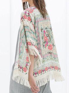 Buy Vintage Floral Tassel Kimono from abaday.com, FREE shipping Worldwide - Fashion Clothing, Latest Street Fashion At Abaday.com