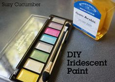 DIY Iridescent, watercolor-like paint made from  eyeshadow  People are using mica pigments (such as Pearl Ex) for eyeshadow (I don't recommend this).  But what about vise versa?  I Googled and found info for TURNING YOUR EYESHADOW INTO PAINT!  -JLN✒