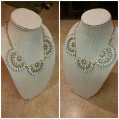 Gorgeous Statement Necklace White Stones Gorgeous Statement Necklace White Stones, pictures don't do this stunning necklace justice  (or maybe operator error,  pieces like this I wish I was a better picture taker).  This is a costume piece, no precious metals or genuine stones, but it is an amazing beauty. New , never worn. The stones will compliment any outfit and enhance their color. Jewelry Necklaces
