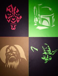 Star Wars Paper-cut Crafts made from pumpkin carving stencils.