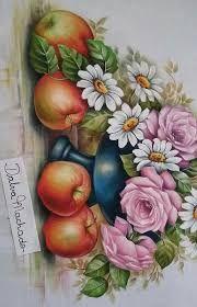 Resultado de imagem para pinturas dalva Fruit Painting, Tole Painting, Fabric Painting, Colored Pencil Techniques, Floral Motif, Cute Drawings, Folk Art, Pattern Design, Diy And Crafts