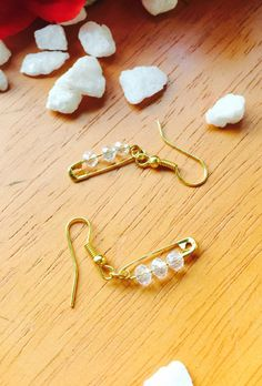 Beaded safety pin earrings by AshMeadowLane on Etsy