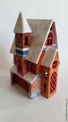 """Купить Подсвечник керамический """"Коттеджик"""" - разноцветный, керамика ручной работы, подсвечник, домик, коттедж, керамика"""