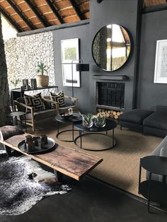 Dark Modern Living Room Luxury Dark Home Ideas with Natural Light Dark Walls Wooden Table Home Living Room, Interior Design Living Room, Living Room Designs, Living Spaces, Dark Walls Living Room, Dark Grey Walls Living Room, Black Carpet Living Room, Dark Rooms, Grey Carpet