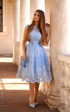 outfit blue lace dress with blue handbag Frock Fashion, Fashion Dresses, Ladies Fashion, Dress Outfits, Casual Dresses, Formal Dresses, Dress Shoes, Blue Homecoming Dresses, Bridesmaid Dresses