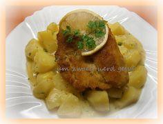 Kräuter-Béchamelkartoffeln&panierter Fisch