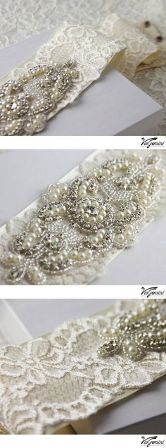 Wedding Sash, Heirloom Lace Bridal Sash, Cream and Ivory crystal sash, Couture Rhinestone Bridal Belt. $185.00, via Etsy.