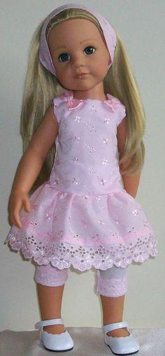 "Just inspiration Vintagebaby tunic, leggings & alice ban for 18"" dolls Designafriend/Gotz hannah"