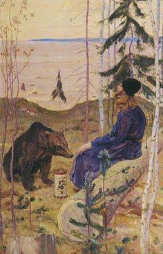 A Hermit with a Bear, 1925  Mikhail Nesterov