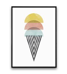Aquarelle impression crème glacée impression et par Wallzilla
