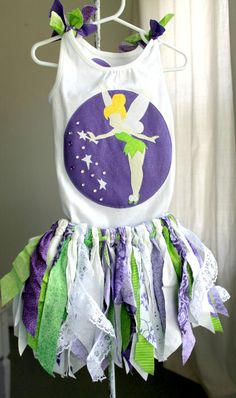 Tinkerbell Birthday Outfit Shirt and Skirt by ShopMinnieAndPearl. $50.00, via Etsy- Making my own version for Trinity