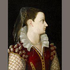 Circle of Alessandro di Cristofano Allori (Florence 1535-1607)  Portrait of a lady, bust-length, in a crimson dress with a white lace collar  bears inscription 'la Madre di To/bia Rosolini/ e Di/ Giemo e Davito Rosolini' (on reverse)  oil on panel