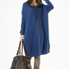 Casual Loose Cotton Knitting Sweater Dress Blue