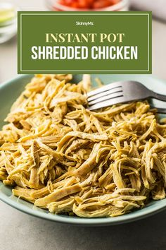 Instant Pot Everything Shredded Chicken Clean Eating Slow Cooker Recipe, Clean Eating Recipes For Dinner, Clean Eating Meal Plan, Slow Cooker Recipes, Dinner Recipes, Dinner Ideas, Skinny Chicken Recipes, Shredded Chicken Recipes, Skinny Recipes