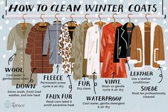 Learn how to clean 9 types of winter coats wool. D waterproof coats. Types Of Coats, Types Of Jackets, Winter Coats Women, Coats For Women, How To Clean Suede, Clean 9, Winter Overcoat, Fashion Vocabulary, Waterproof Coat