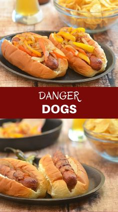 Bacon-Wrapped Hot Dogs are called danger dogs for a reason. Wrapped in smoky bacon and loaded with caramelized onions and peppers, they're dangerously delicious! via @lalainespins