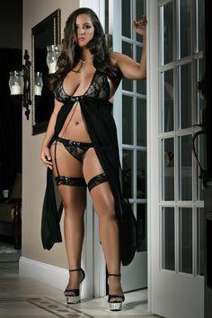 Black Night gown XL-4XL. D916P black / Roztomilé srdiečko XL-4XL - erotické šaty/čierne