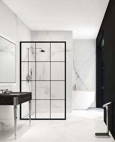Modern monochrome bathroom designs for showering in style Modern Monochrome Bathroom Ideas: Black & White Bathroom Inspiration White Marble Bathrooms, Small Bathroom, Basement Bathroom, Modern White Bathroom, Bathroom No Window, Bathroom Ideas White, Tropical Bathroom, Bathroom Showers, Bathroom Black