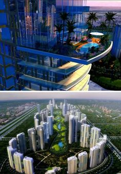 Noida is one of the fastest growing cities in the world. A 80 high and mid-rise residential project that surrounds a park and golf course. Some towers will have their own balcony-pool ... pretty amazing