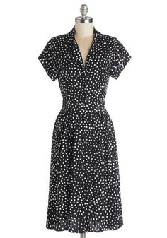 polka dot black and white dress $109