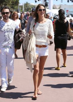 The Best Model-Off-Duty Looks (Updated!): Elle Macpherson colored the streets of London in her green leather cropped pants.   : Alessandra Ambrosio created a cute pairing with white denim cutoffs and an off-white Candela sweater in Cannes.
