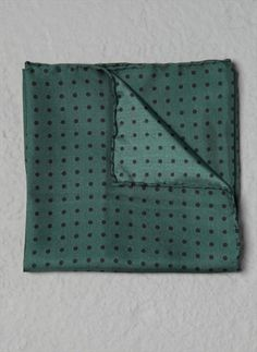 Farrell Racing Green Polka Dot Print Silk Handkerchief How sexy, deep green and spotttttttttt