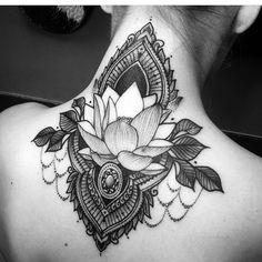 Lotus flower tattoo ✨ back tattoo tattoos тат Word Neck Tattoos, Side Neck Tattoo, Head Tattoos, Cover Up Tattoos, Body Art Tattoos, Sleeve Tattoos, Mandala Tattoo Neck, Stomach Tattoos, Chest Tattoo