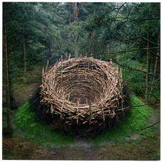 "Nils-Udo ""The Nest"", Earth, stones, birch branches, grass, Lüneburg Heath, Germany, 1978"