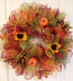 Fall Ruffle Deco Mesh Wreath on Etsy, $54.00