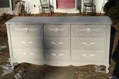 redone dresser   grey paint and white handles.   pretty IDEA FOR MOM- paint the handles on the green one she just did
