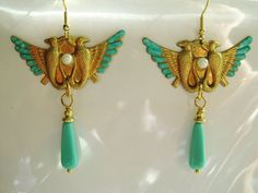 Egyptian earrings Revival Art Deco vintage retro 1920s 1930s style statement earrings turquoise gold filled hooks
