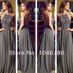 2014 Newwww~ High Spaghetti Straps Beading Sequined Backless Gray Perfect A-line Floor-Length Long Evening Dresses