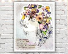 """""""Siren Song"""" PAPER PRINT - bohemian art. TITLE - SIREN SONG (signed archival giclee print on acid-free cotton paper. white border for framing purposes as pictured.) """"I'd rather wear flowers in my hair than diamonds around my neck."""" -Emma Goldman Pretty purple flowers, dainty little pansies, jewels and leaves. All things bohemian to make up a wonderful, elaborate flower crown headdress. A happy and unique print for girls of all ages. I rarely use purple and lavender in my work, so with…"""
